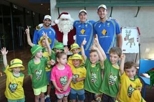 Nathan Lyon, Josh Hazelwood and Matt Renshaw  celebrating Christmas Eve at the Melbourne Cricket Ground. (Cricket Australia/Getty Images)