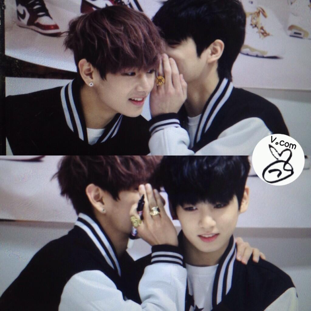 Taekook/Vkook at fansign telling each other secrets❤️