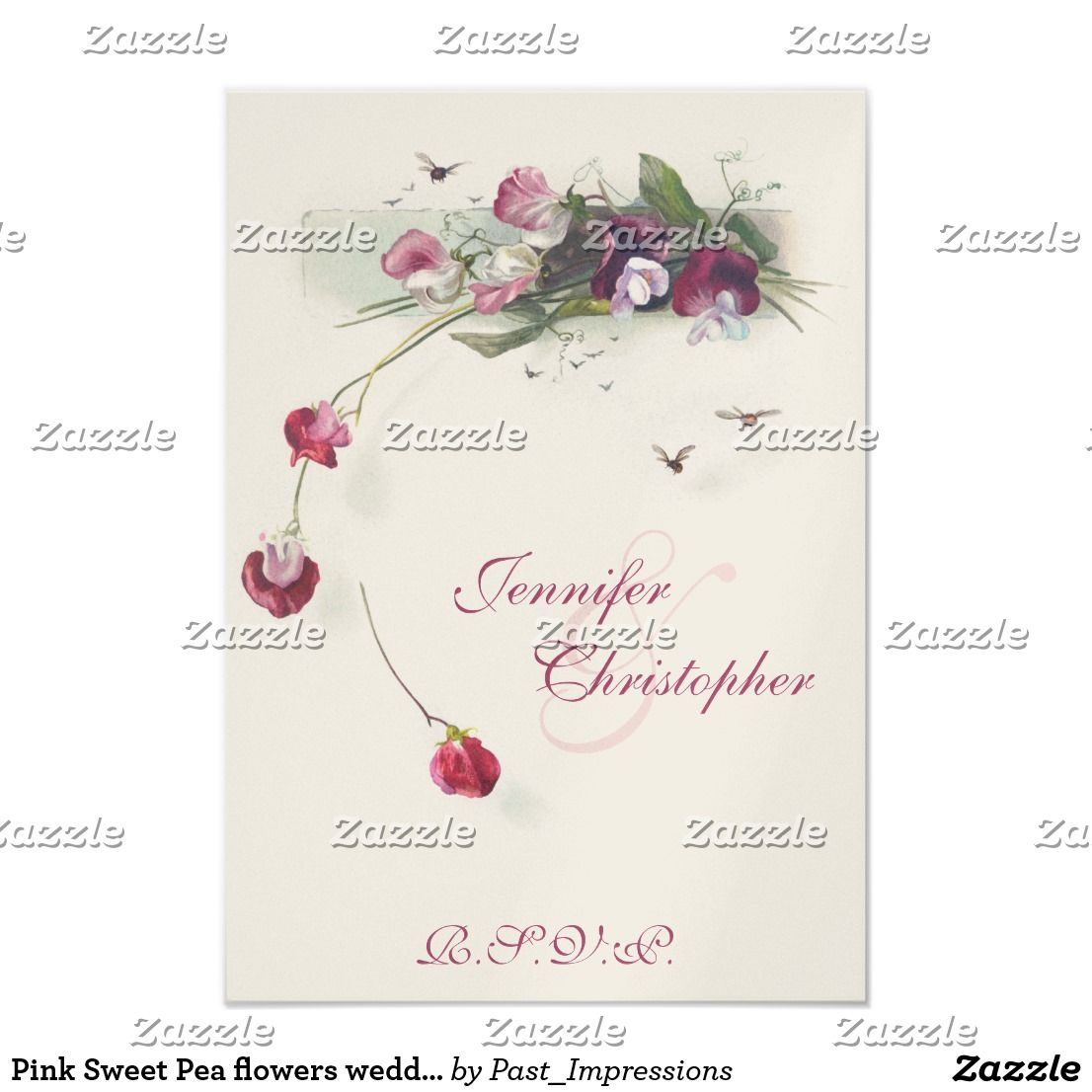 Pink Sweet Pea Flowers Wedding Rsvp Card