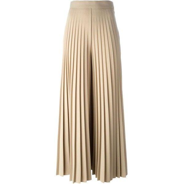 Pleated Checked Wool Wide-leg Pants - Beige Fendi 7o2hxXqF