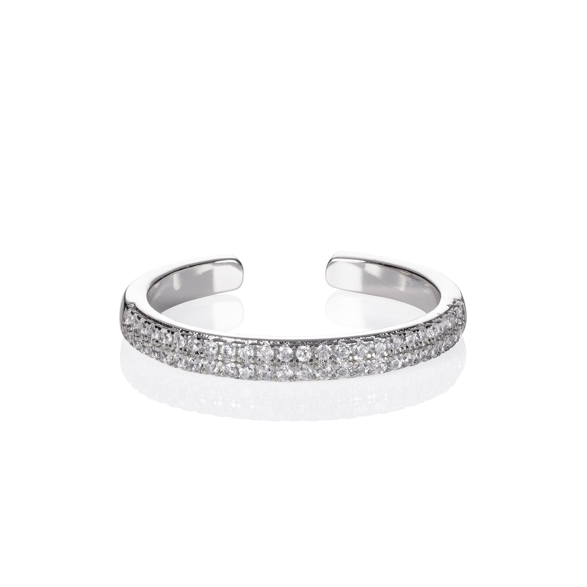 Features * Ajdjustable open ring for women with Cubic Zirconia stones. Stylishly elegant this ring can be adjusted to be worn on any finger and can be stacked with other rings from this collection * 2.5mm wide adjustable band rings for women * Open ring made from rhodium plated brass * Stylish rings for women, nickel-free and lead-free high-quality fashion jewellery Description ★ This adjustable open ring for women is striking to wear every day. This ring can be adjusted to any size and can also