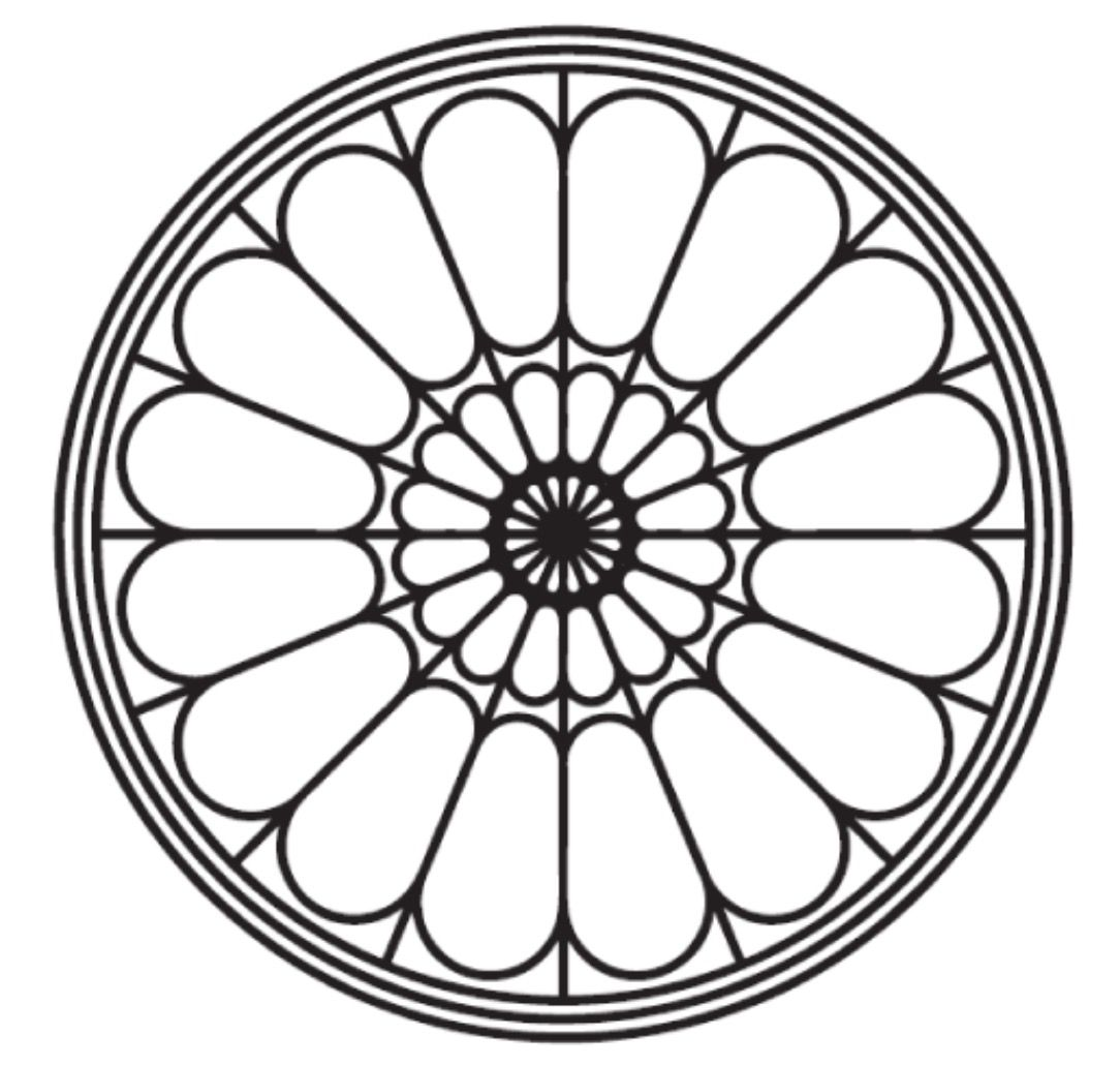 Simple Rose Window Line Drawings Tattoo Designs Stained Glass Design Elements Cathedrals Mandala Gothic