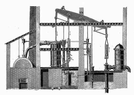 El ingeniero Inglés Thomas Newcomen construyó la primera máquina de vapor en 1709, pero sólo servía para drenar los campos. En I 768, James Watt perfeccionó el diseño original de Newcomen para que pudiera adaptarse a la maquinaria de las fábricas.