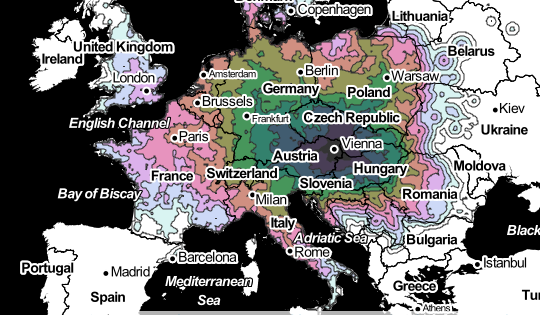 Isochrone map charts travel times within europe citylab heres how isochrone map charts travel times within europe citylab heres how long it takes to travel gumiabroncs Images