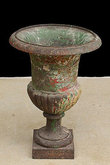 French Antique Cast Iron Medici Style Garden Urn
