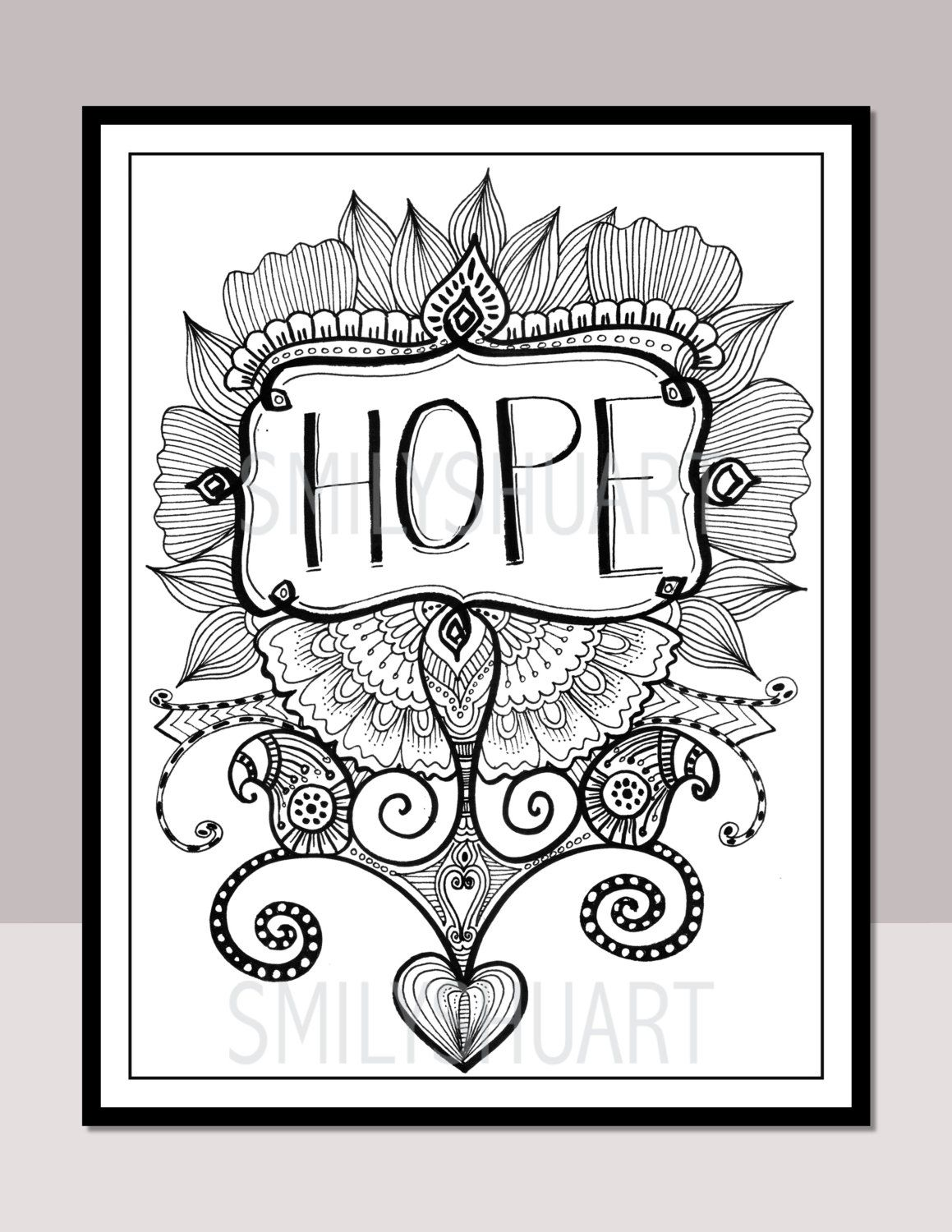 hope printable motivational quotes zentangle adult coloring pages cards mindfulness coloring