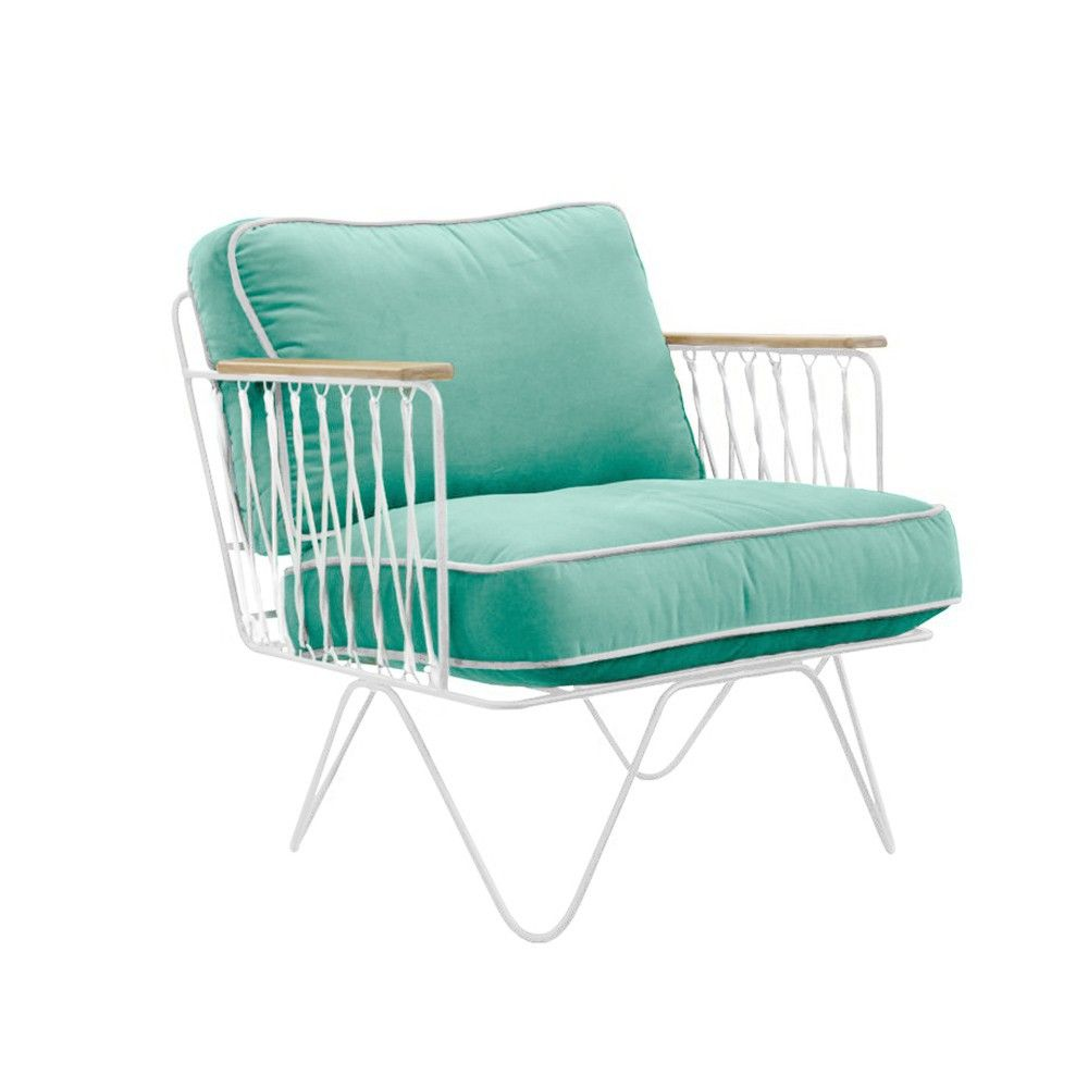 Croisette white and sea green cotton armchair product