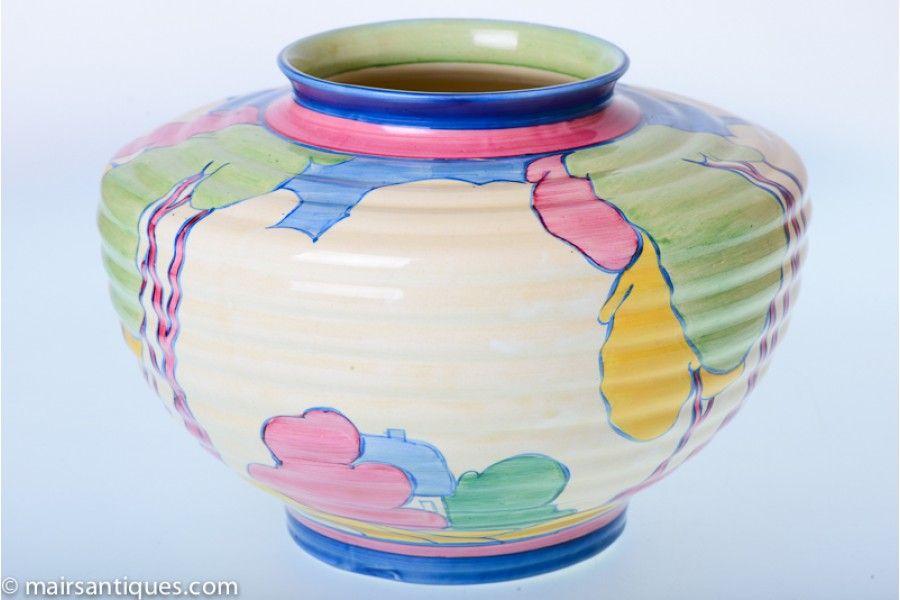 Large Rare Clarice Cliff Vase Shape 456 In Pastel Autumn Pattern