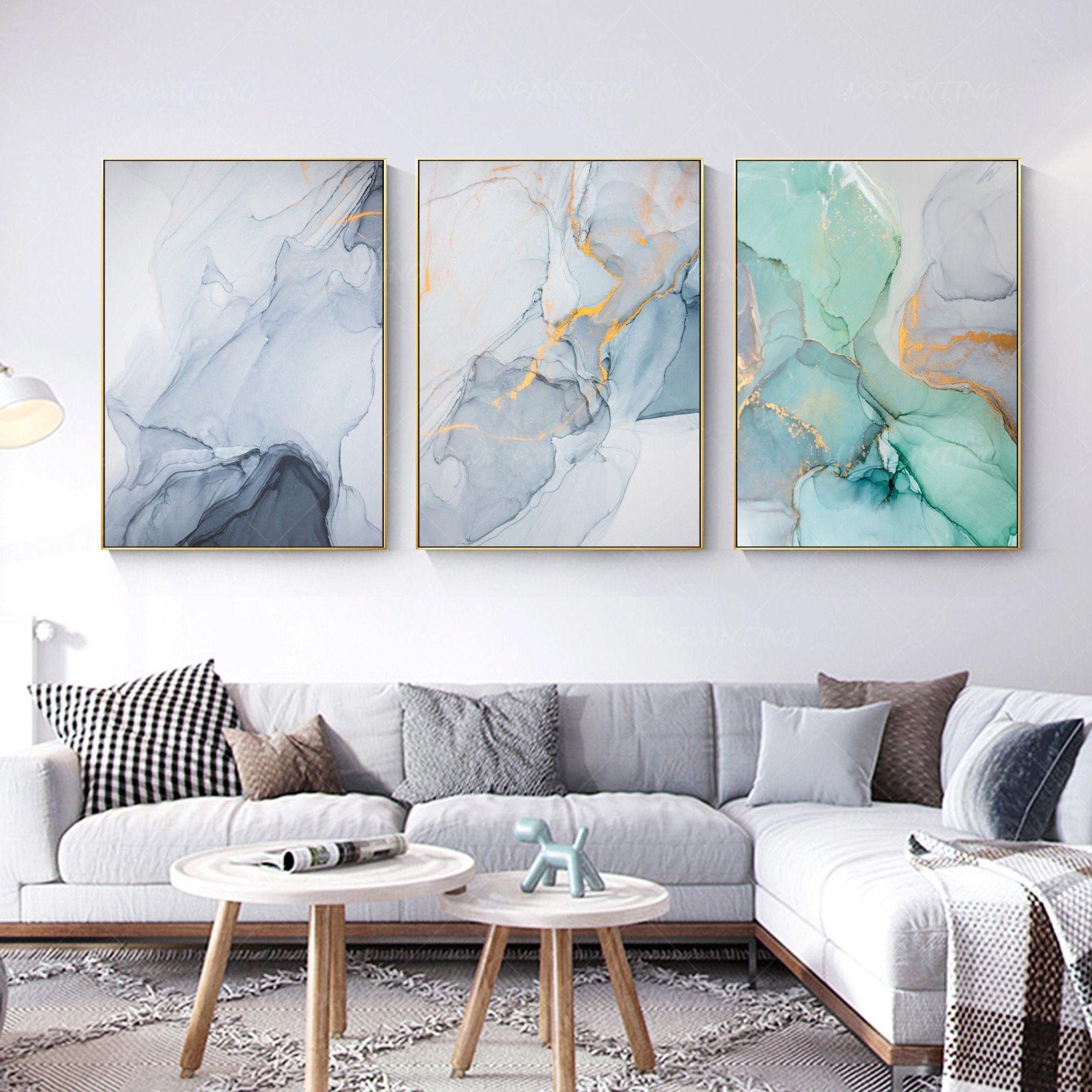 3 Pieces Wall Art Abstract Print Teal Blue Green Print On Etsy In 2021 3 Piece Wall Art Three Piece Wall Art Green Wall Art