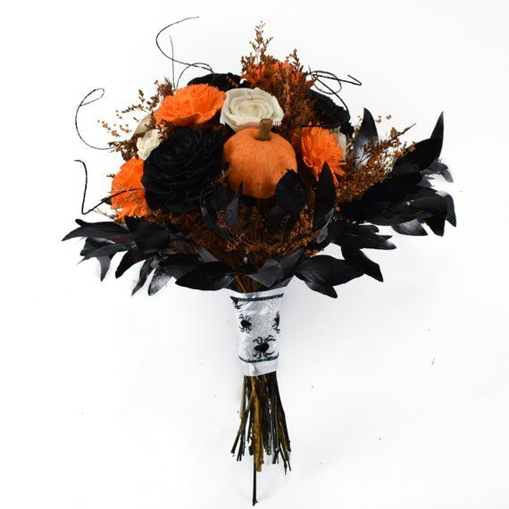Candy Corn Sola Flower Bouquet // Wood Flower Bouquet, wood flower black, Bridal Bouquet, Halloween #flowerbouquetwedding