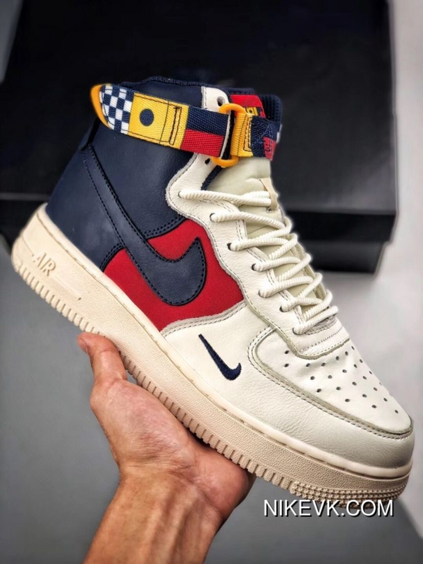 The Nike Air Force 1 Sailing Series White Red Blue Match One High