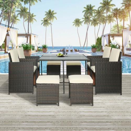 Rattan Outdoor Patio Furniture Set - 9-Piece