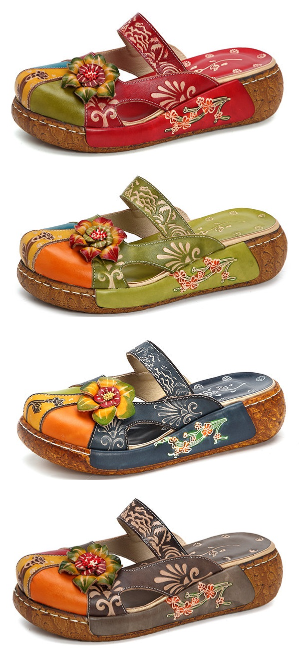 69ca653d37 US 48.47 SOCOFY Vintage Colorful Leather Hollow Out Backless Flower Shoes  Boho Móda