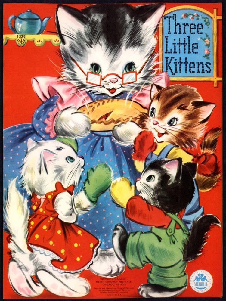 Merrill Archive Copy Three Little Kittens 1539 1951 M619 Little Kittens Vintage Cat Vintage Children S Books