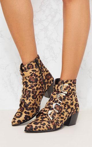 PRETTYLITTLETHING Leopard Pinstud Buckle Western Ankle Boot j4hd6wWN