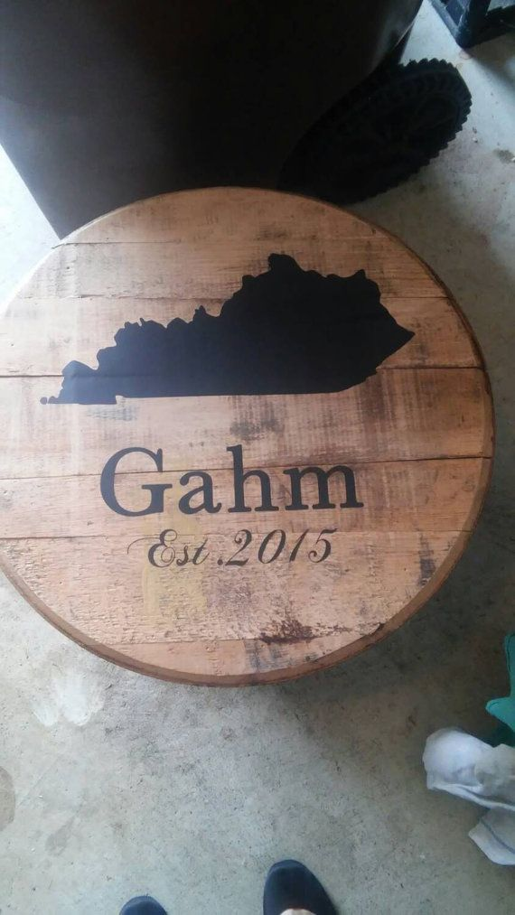 Full Bourbon Whiskey Barrel Head With Personalization Crafts