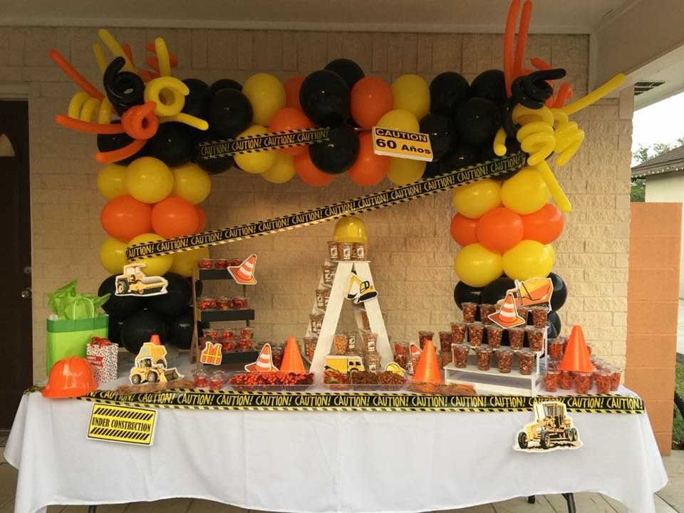 Construction Balloon Arch And Dessert Table In 2019