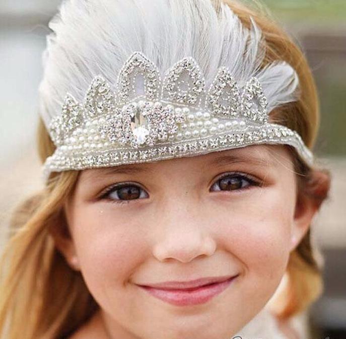 Girls Feather Bohemian Crown Headband