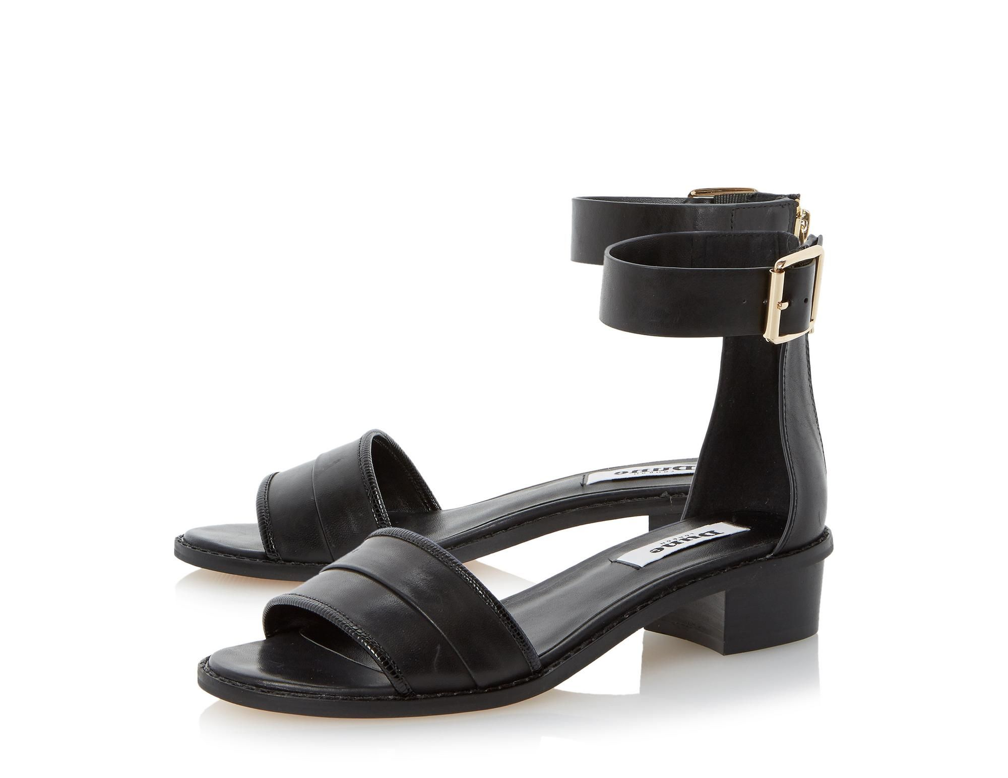 Black sandals dune - Dune Ladies Jools Low Block Heel Ankle Strap Leather Sandal Black Dune Shoes