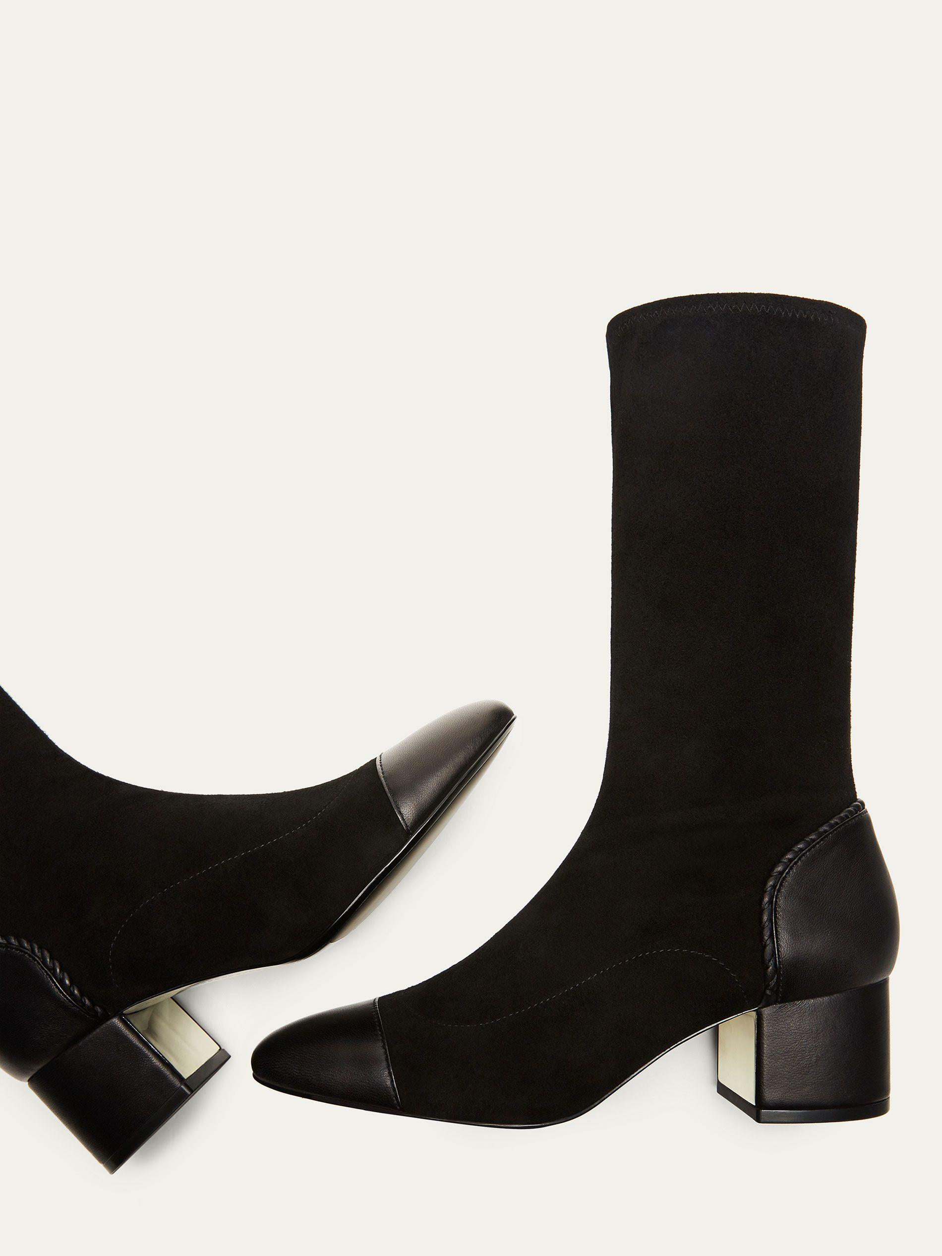 STRETCH FEMMES DAIM NOIRE CUIR pour Chaussures BOTTINE c5jL3Aq4R