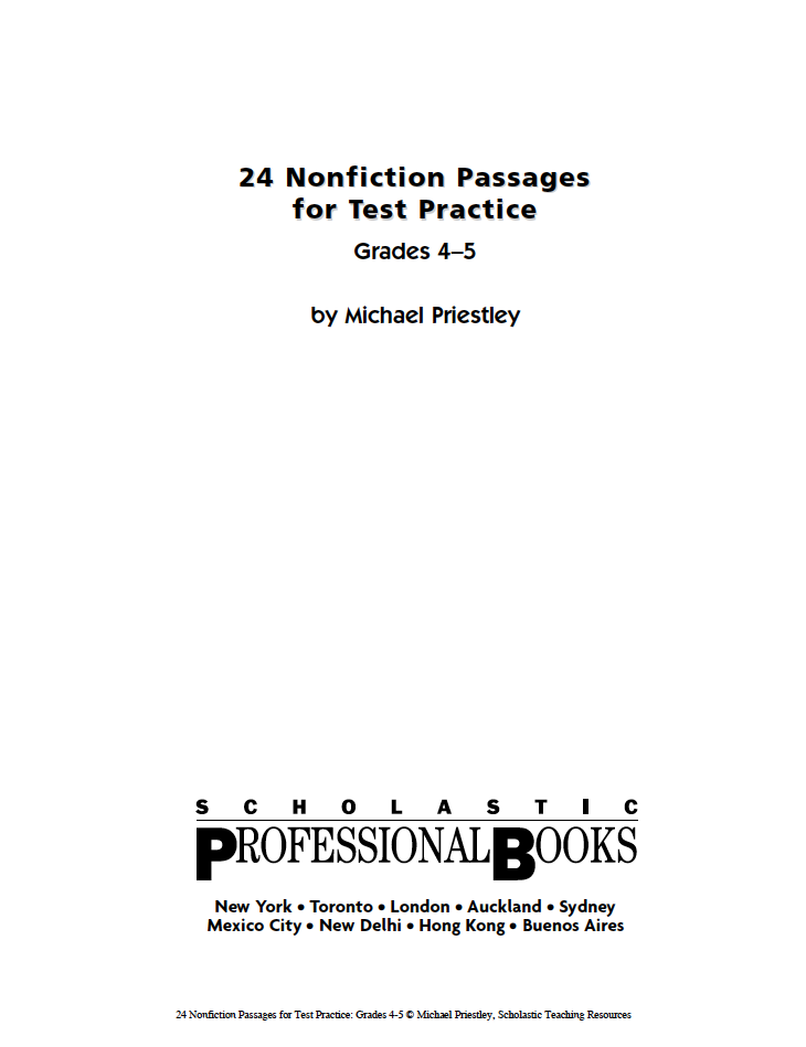 Free Nonfiction Passages For Test Practice From Scholastic Gr - Us map crosswords scholastic professional books answers