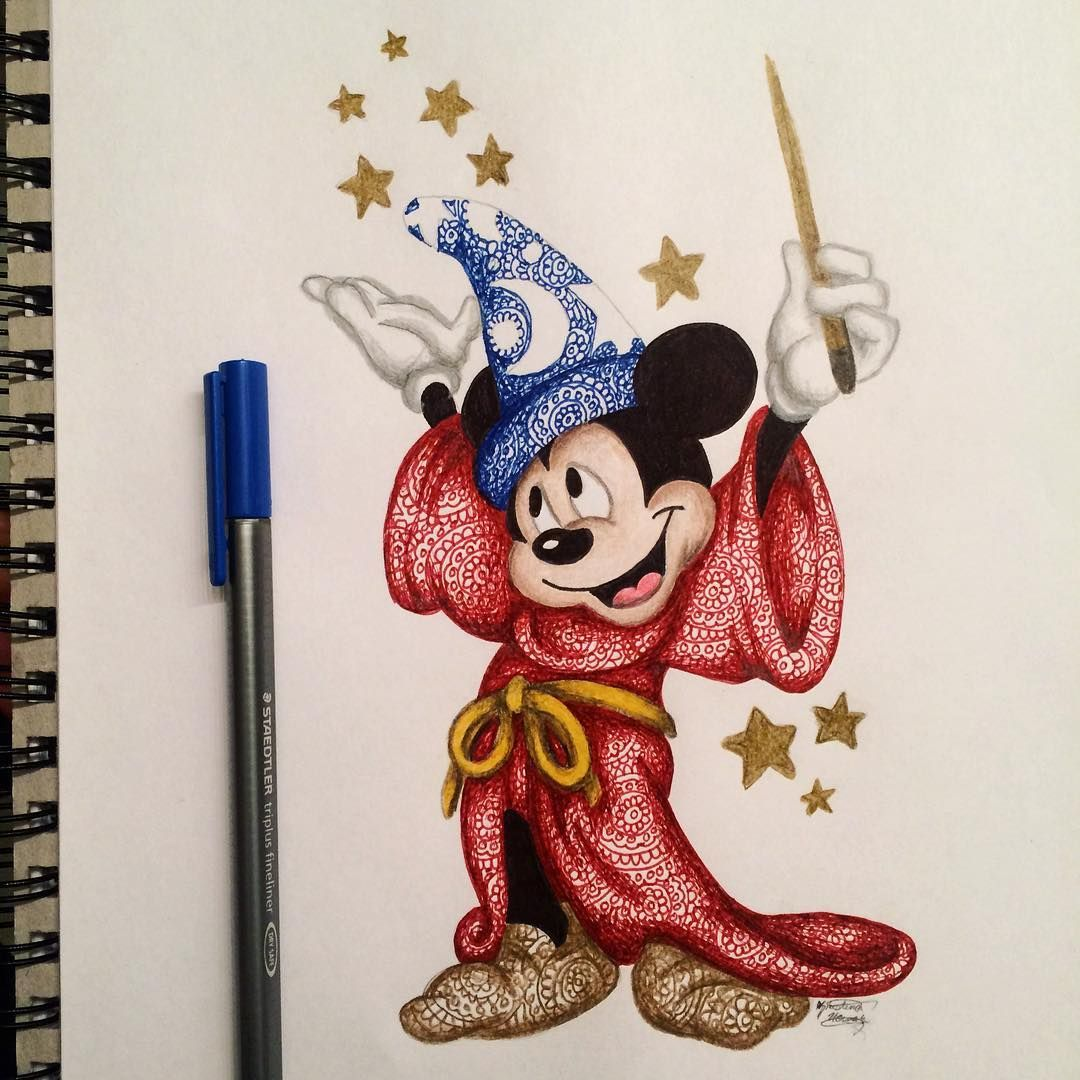 Mickey Mouse [as the Apprentice] (Drawing by Kristina