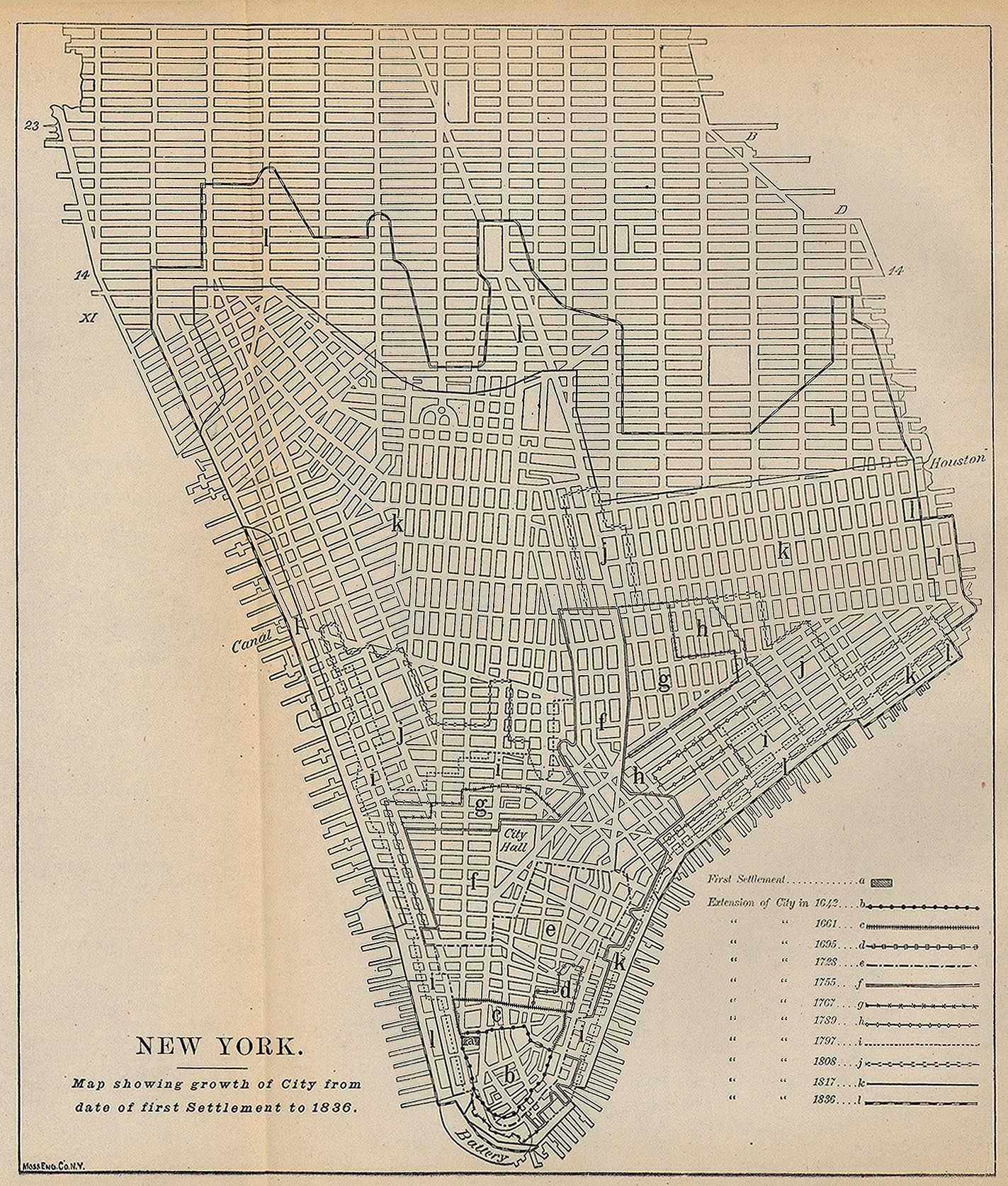 Manhattan, NY, US. Growth of City from first settlement to 1836 ...