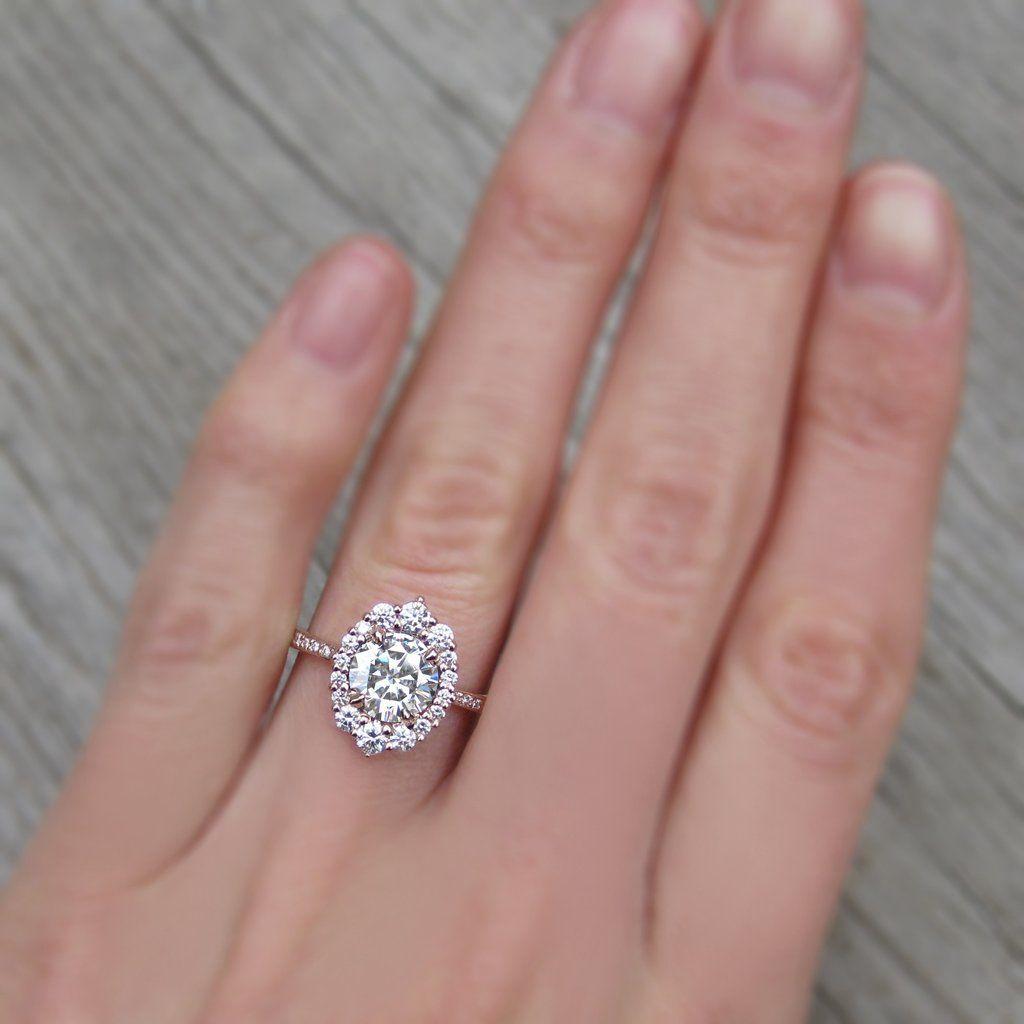 18K Cluster Moissanite Engagement Ring Oval Halo Forever One ...