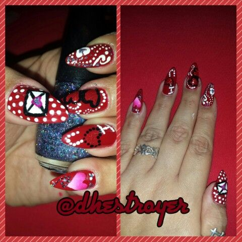 #another#valentines#nail#designs#hearts#lovenote#iloveyou#swirls#dots#glitter#naillife#nailart#dualheartsblack#red#white#pink#ombre#granite#myart#mypaint#mylife#myworld#ilovewhatido
