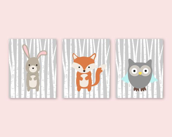 Animal Prints For Nursery Fox Bunny Owl Decor Woodland Creatures Forest Friends