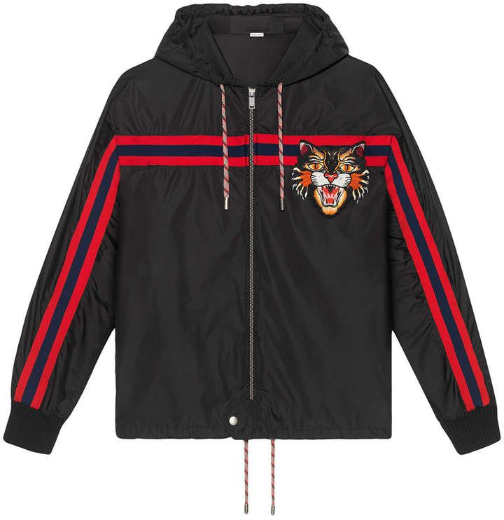 76e9a1468 Gucci Nylon windbreaker with angry cat appliqué | indumentaria ...