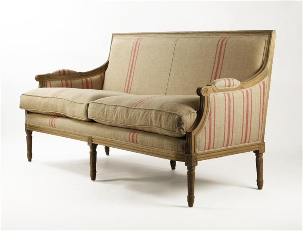 St. Germain French Style Red Stripe Linen Louis XVI Sofa in ...