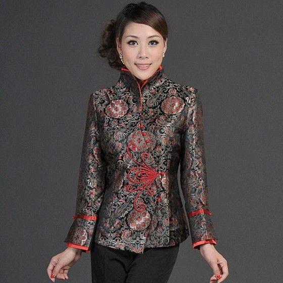 ca919954e Black Brocade Asymmetrical Hem Traditional Chinese Jacket for Women -  iDreamMart.com