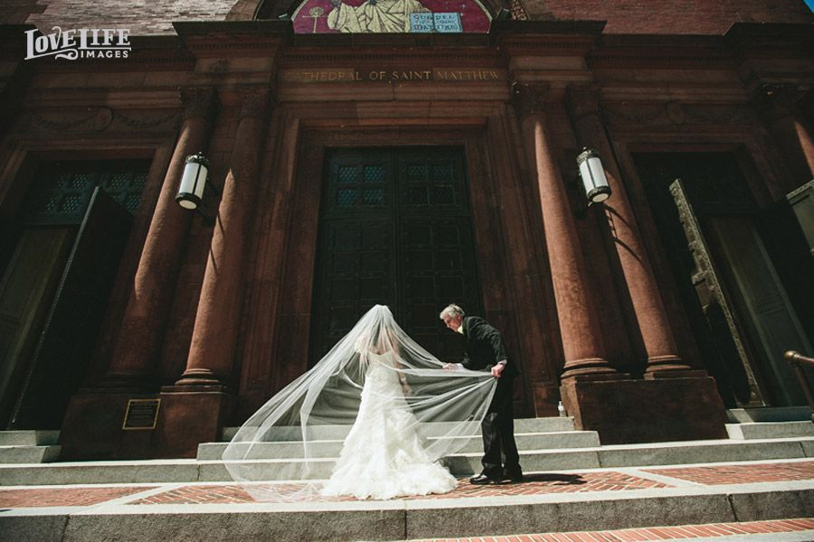 Bride and her father about to walk in for the ceremony. We love her veil! Photo by Love Life Images