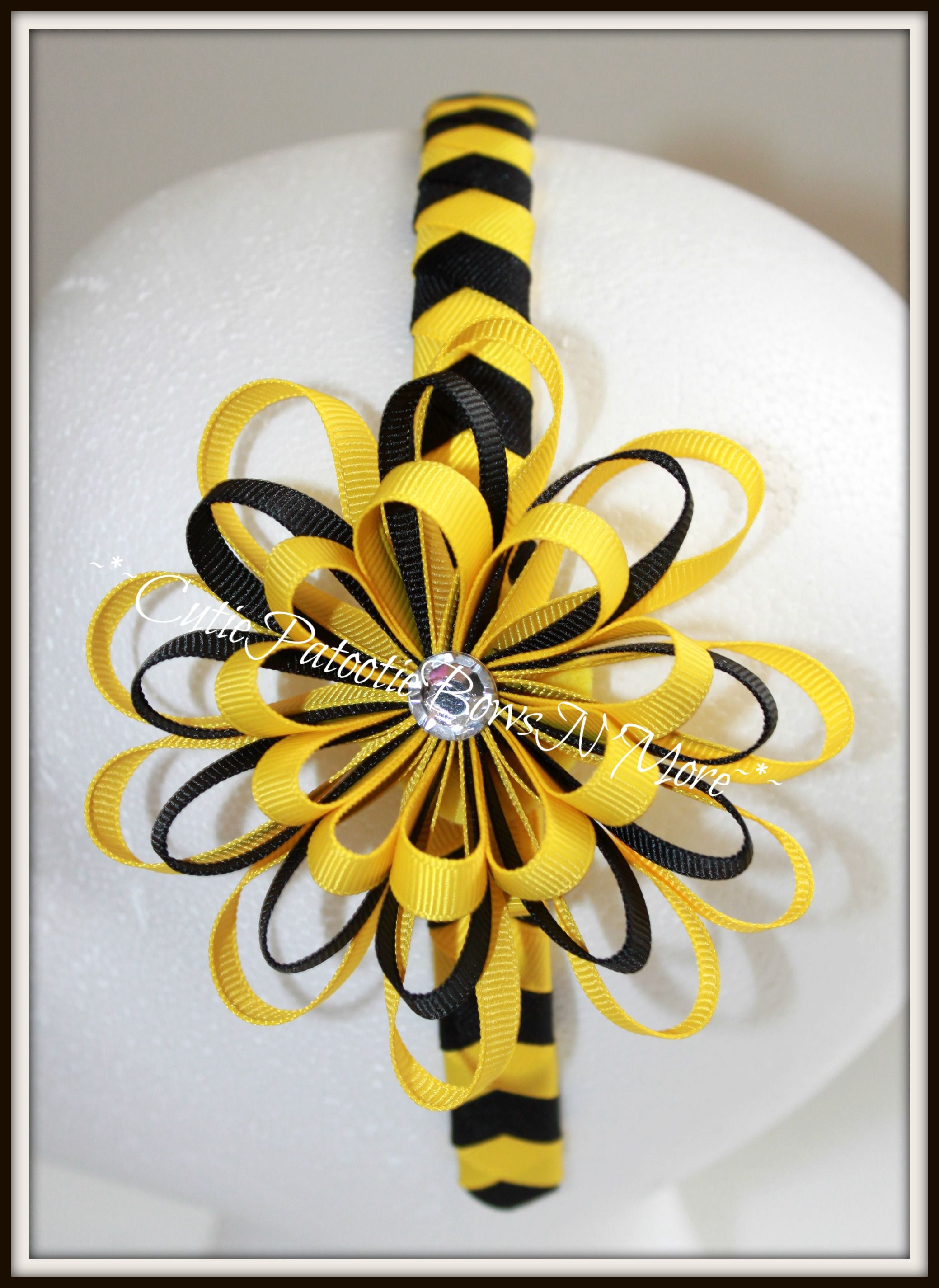 Yellow And Black Woven Headband With Reverse Loopy Flower 600