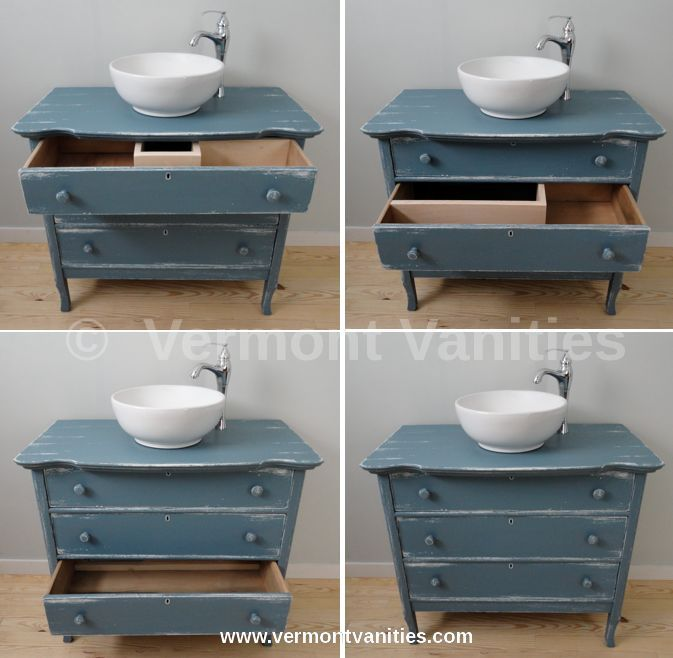 Photo of Three drawer antique converted with distressed paint. We meticulously restore, r… – Neue Deko-Ideen