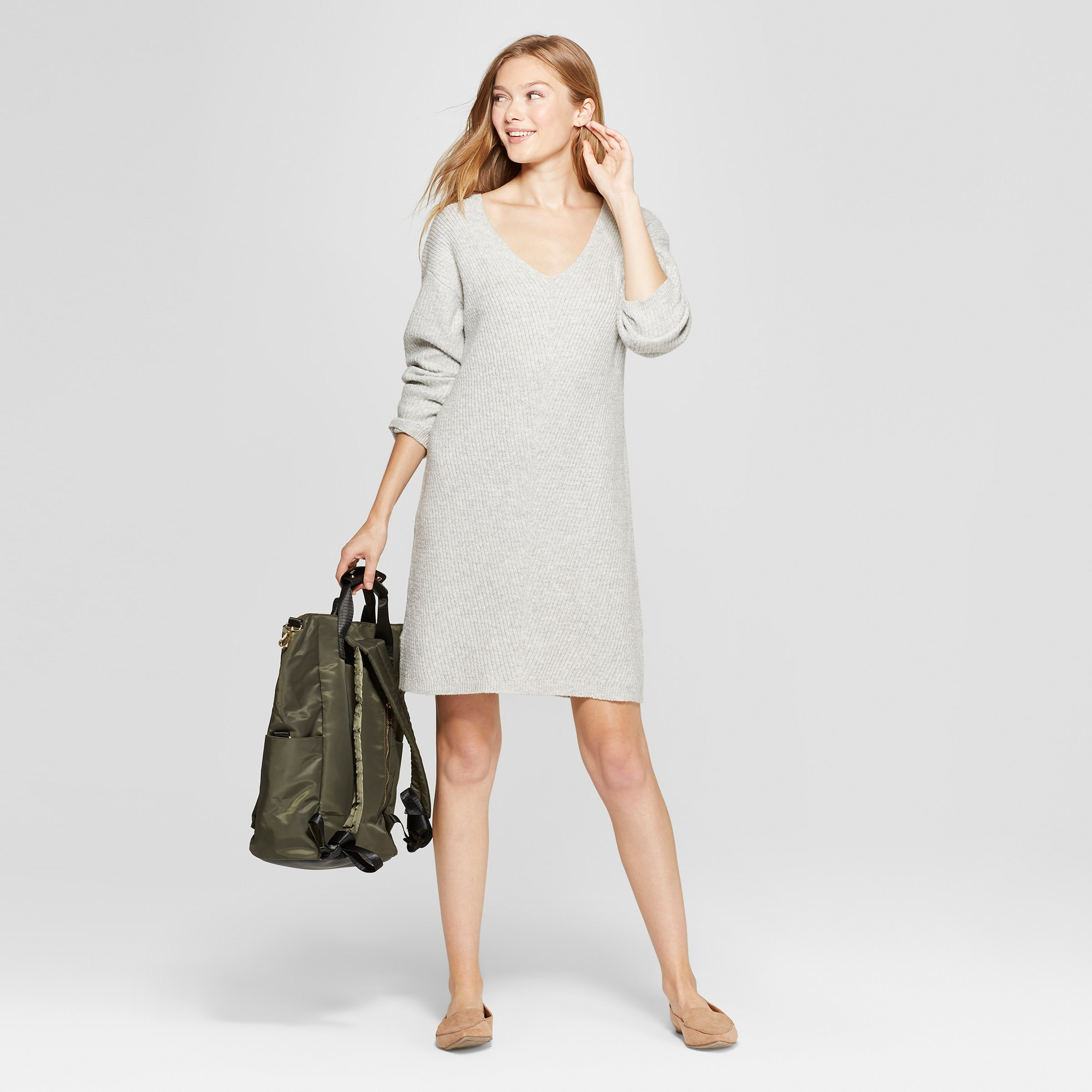 b80979aa06c8 Women's Long Sleeve Sweater Dress - A New Day Gray Xxl | Products ...