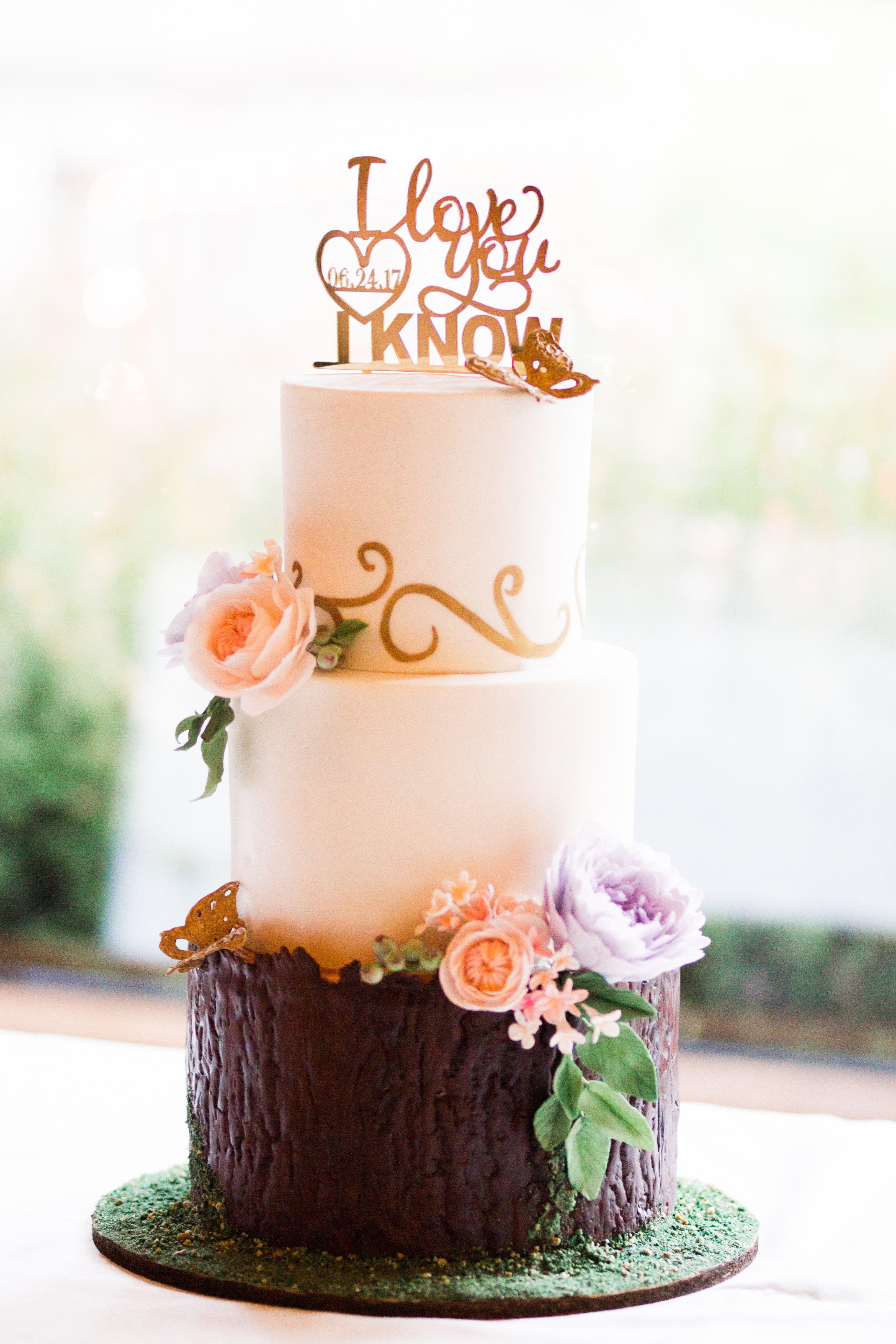Whimsical garden wedding cake with sugar flower roses ...