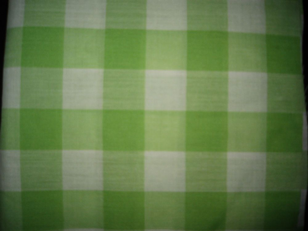 Green and White Checked Cotton Fabric Piece/Sewing/Crafts