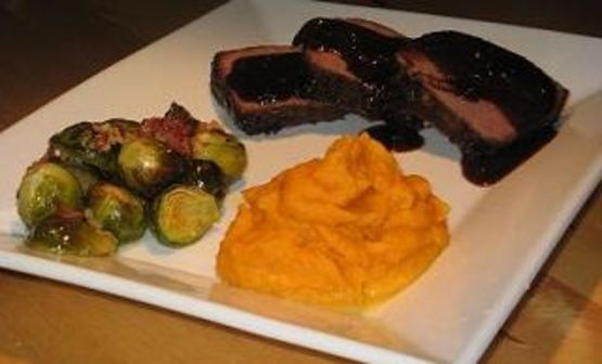 Orange Glazed Roast Buffalo With Garlic Roasted Brussels Sprouts Recipe - Food.com