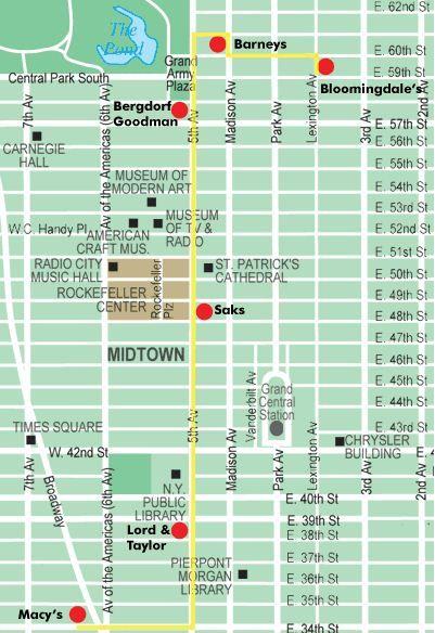 Nyc Holiday Shopping Map Macy S Lord Taylor Saks Bergdorf