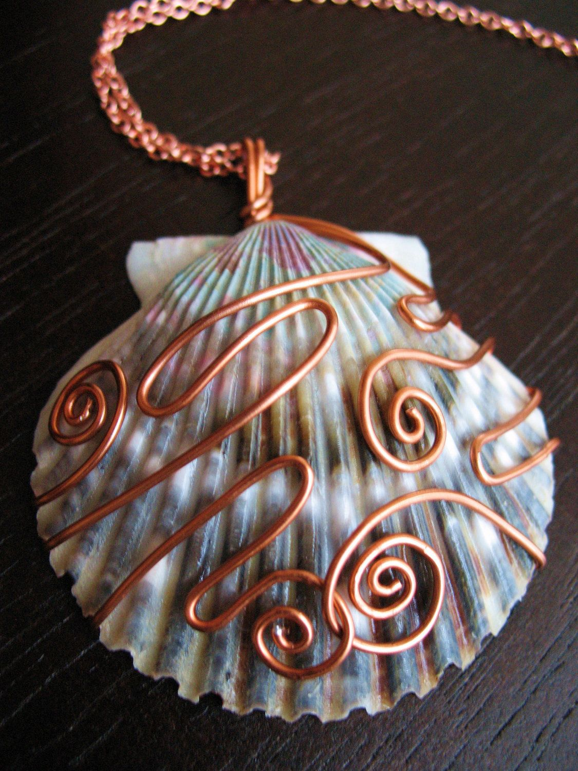 Photo of Blue and Purple Shell Pendant Copper Wirewrapped