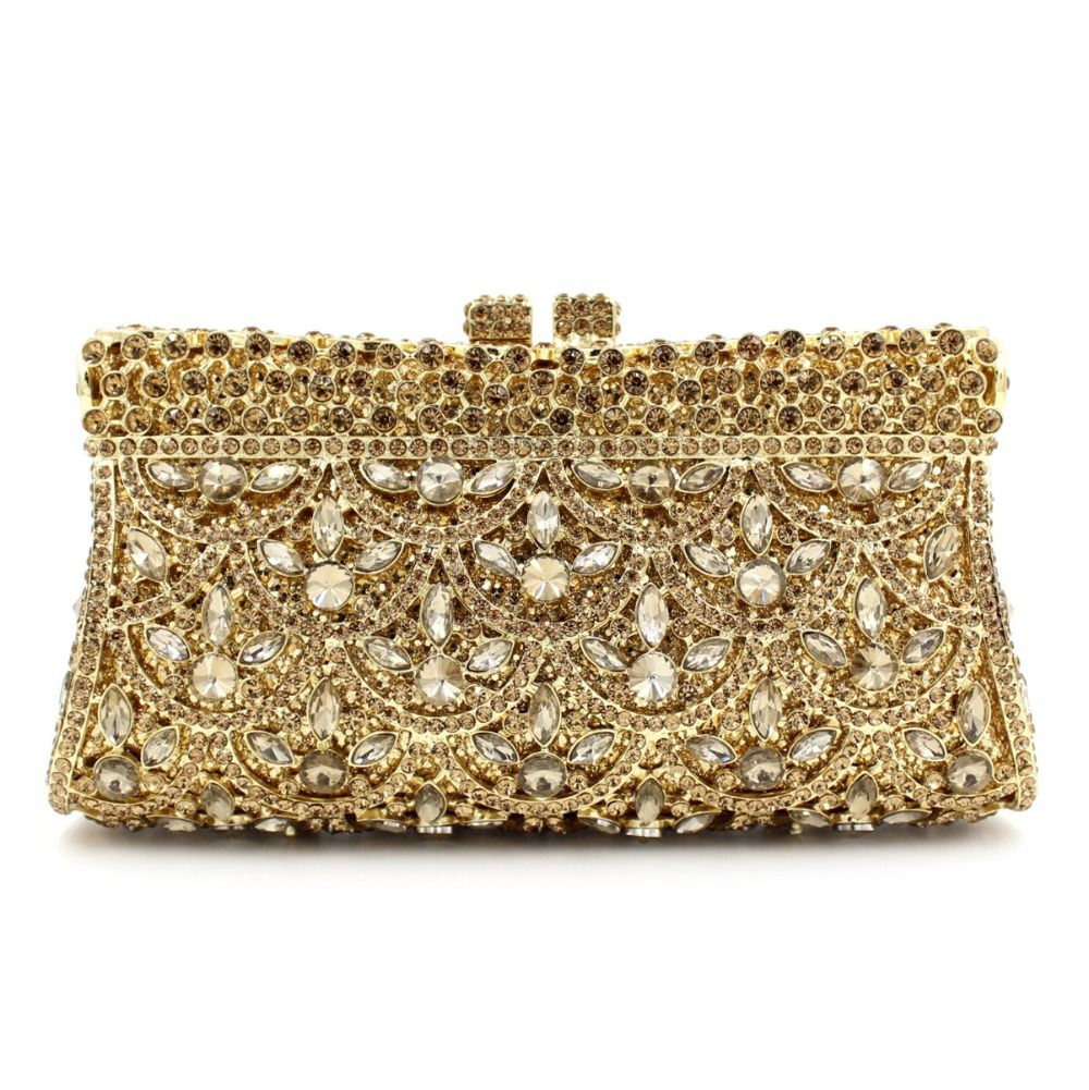 Gold Clutch Evening Bags For Women Wedding Party Special Occasion