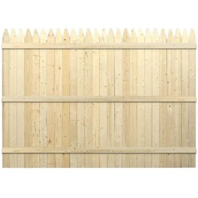 Spruce Pine Fir Moulded Stockade Fence Panel The Home Depot