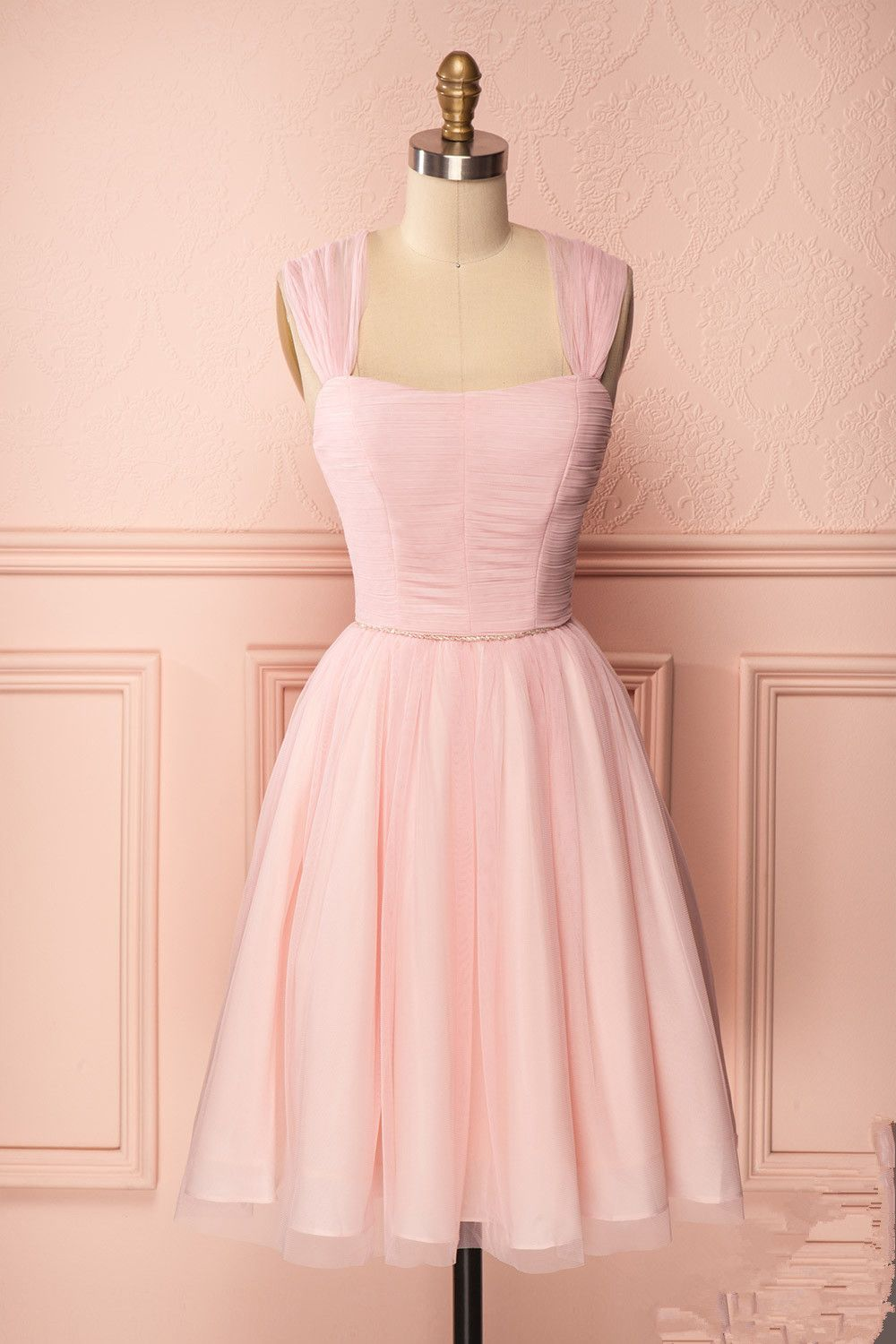 Cute pink tulle short prom dress, cute homecoming dress from dress ...