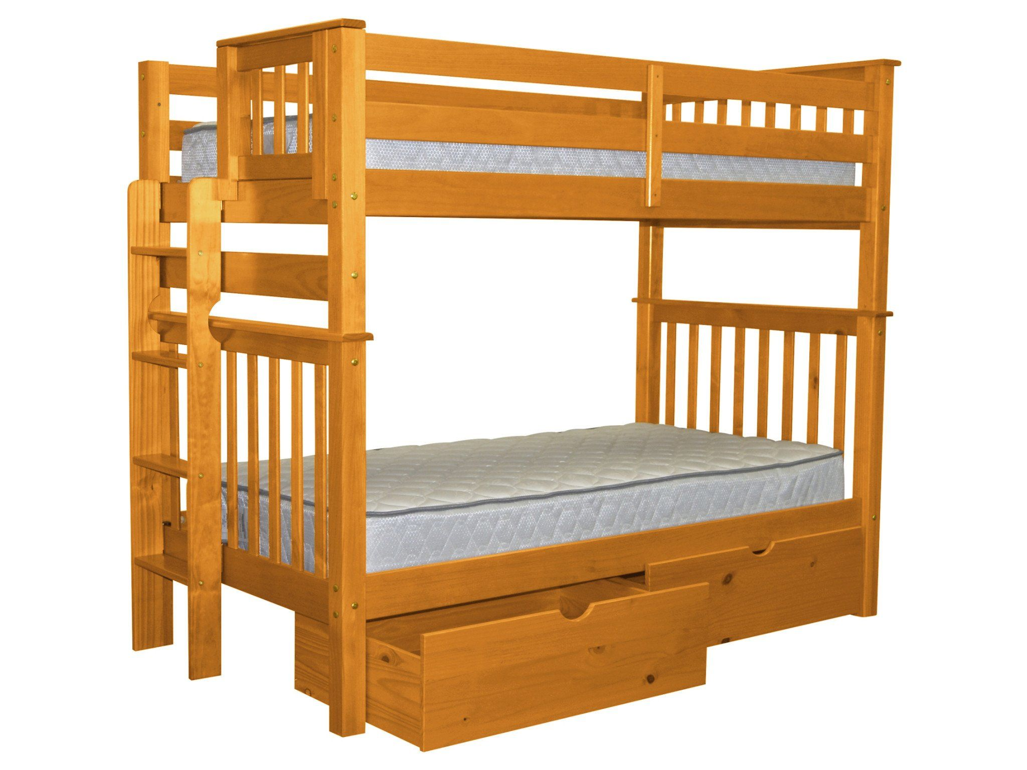 Bedz king tall mission style bunk bed twin over twin with end ladder