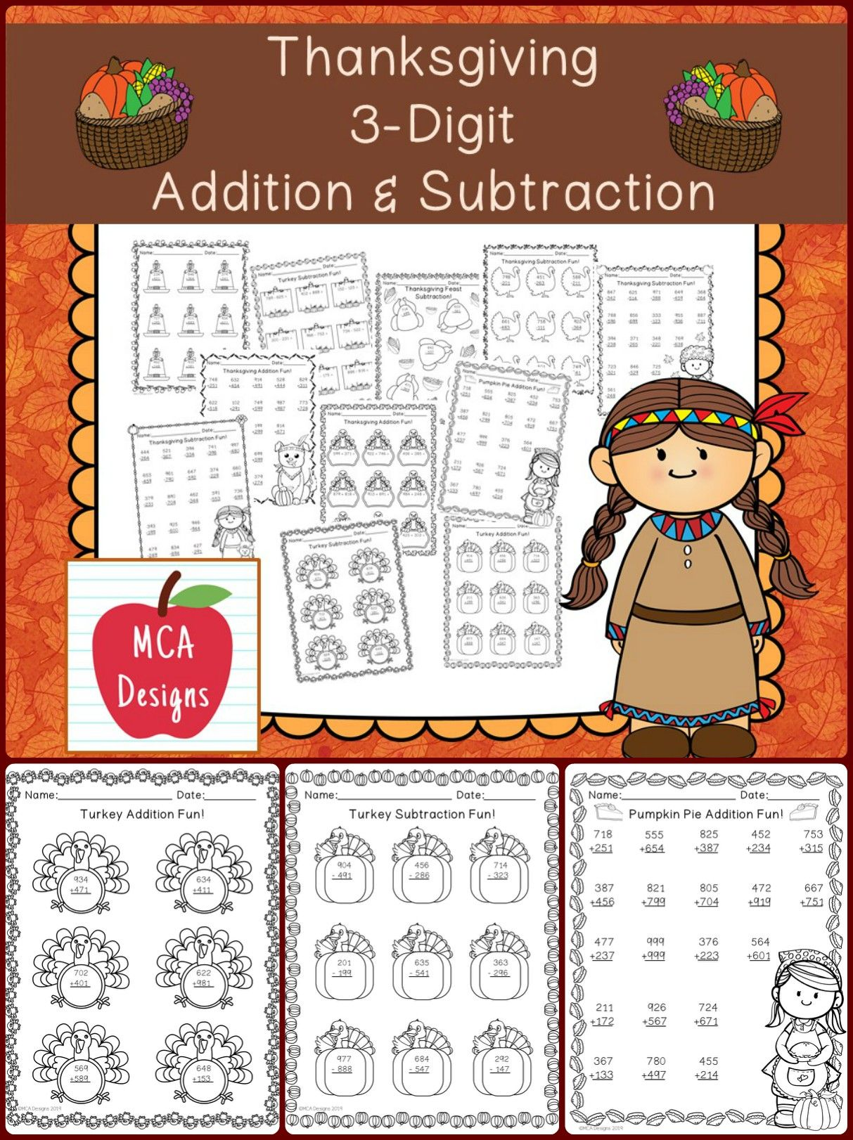 Thanksgiving 3 Digit Addition Amp Subtraction