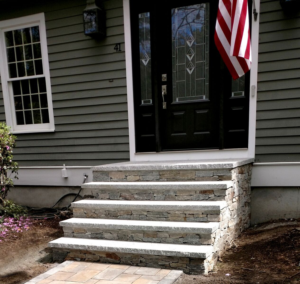 Granite Is Strong Beautiful And Low Maintenance Making It An Ideal Building Material For Entryway Steps And Ultimatel Front Stairs Front Steps Patio Stairs