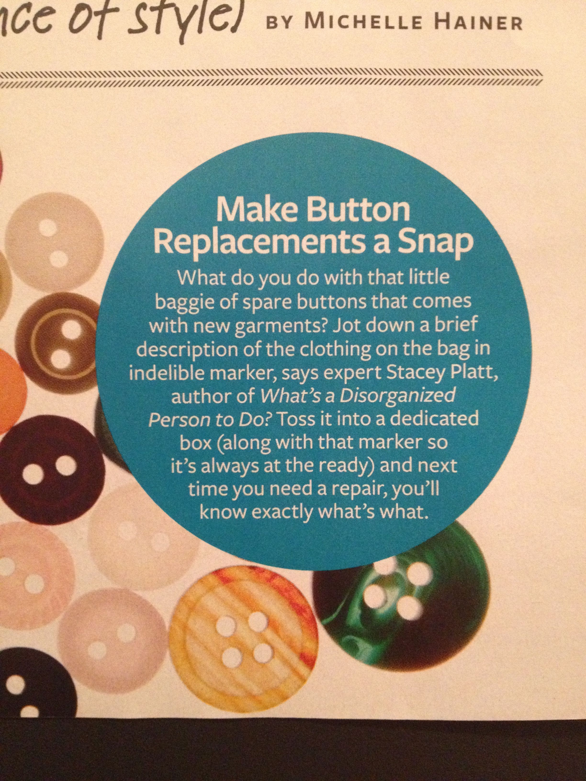 Label Buttons With Description Of Clothing
