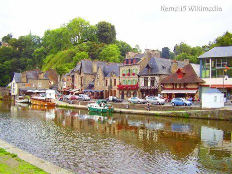 riverside Dinan in northwestern France.